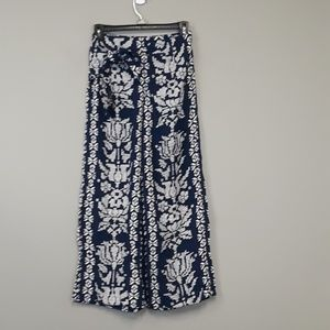 Angie Floral Boho Wide Leg Mock Wrap Pants